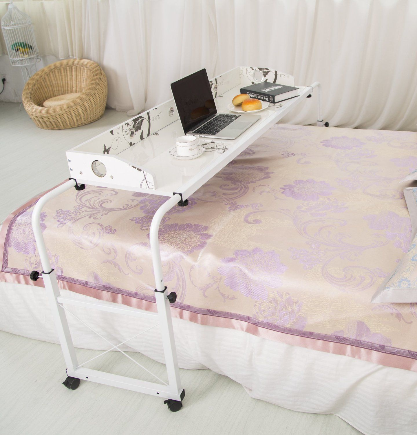 Overbed Table Laptop Cart Computer Table By Unicoo