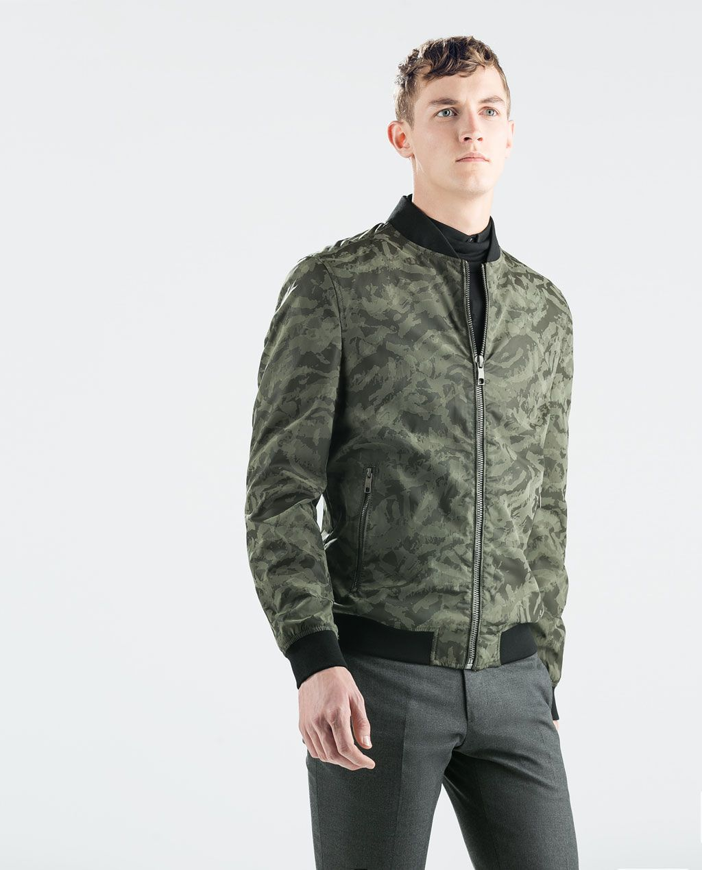 ZARA SALE CAMOUFLAGE FAUX LEATHER BOMBER Faux