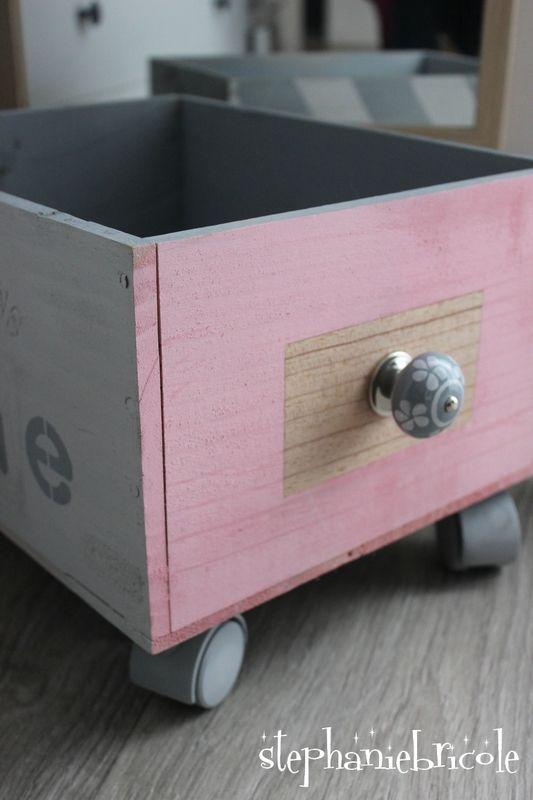 DIY récup - une caisse à roulettes customisée à la bombe de peinture