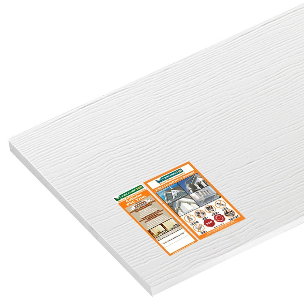 Veranda 3 4 In X 48 In X 8 Ft White Reversible Pvc Trim Sheet H190aws13 The Home Depot Pvc Trim Veranda Pvc