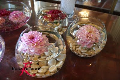 Wedding Centerpieces Fish Bowls With Pink Floating Flower Pink