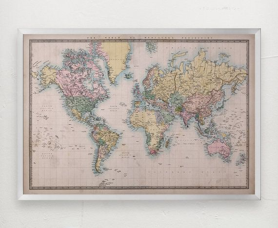 Large world map poster giant world map print by emeraldpinstripe large world map poster giant world map print by emeraldpinstripe gumiabroncs Choice Image