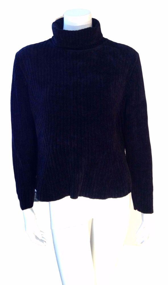 Babette Ballinger Black Ribbed Womens Medium Knit Turtleneck Sweater - SZ Large #BabetteBallinger #TurtleneckMock