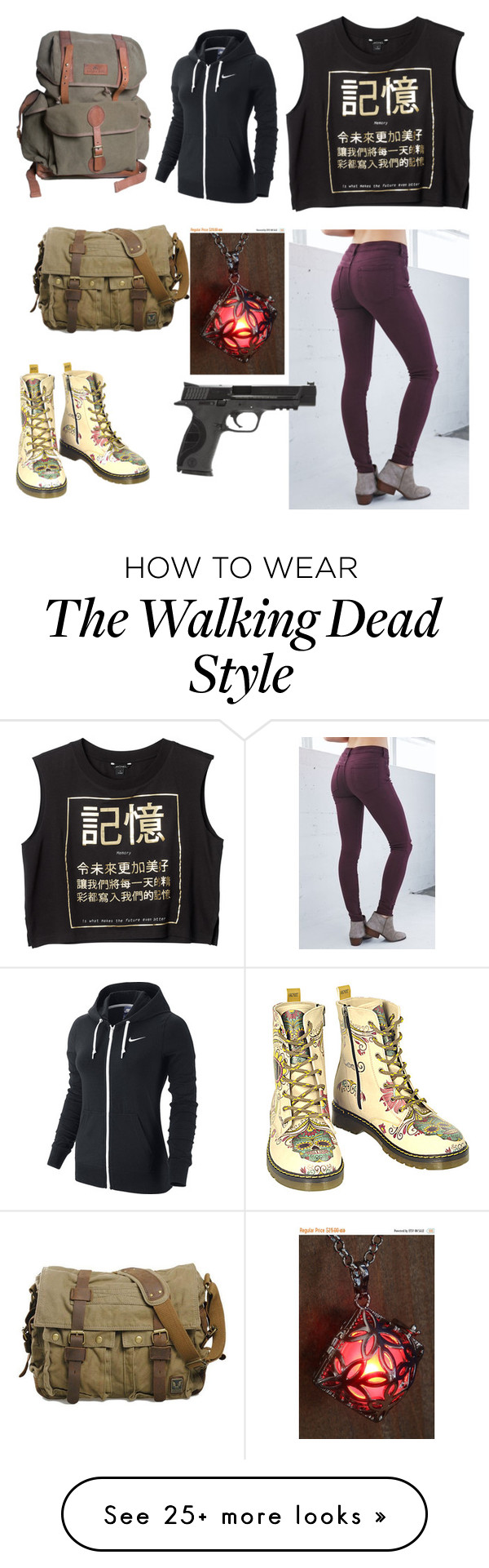 """Walking Dead OC"" by rensnapped on Polyvore featuring Goby, Bullhead Denim Co., Monki, NIKE, Smith & Wesson, women's clothing, women, female, woman and misses"