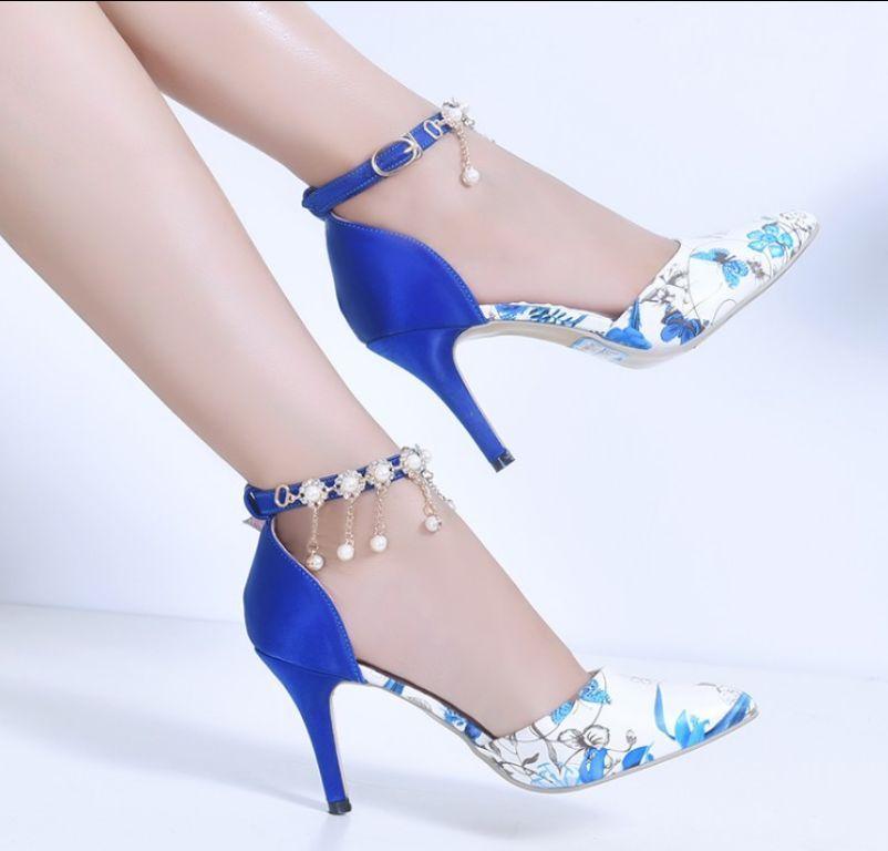 Blue 39 Women S Rhinestone Pointed Toe Stilettos High Heel