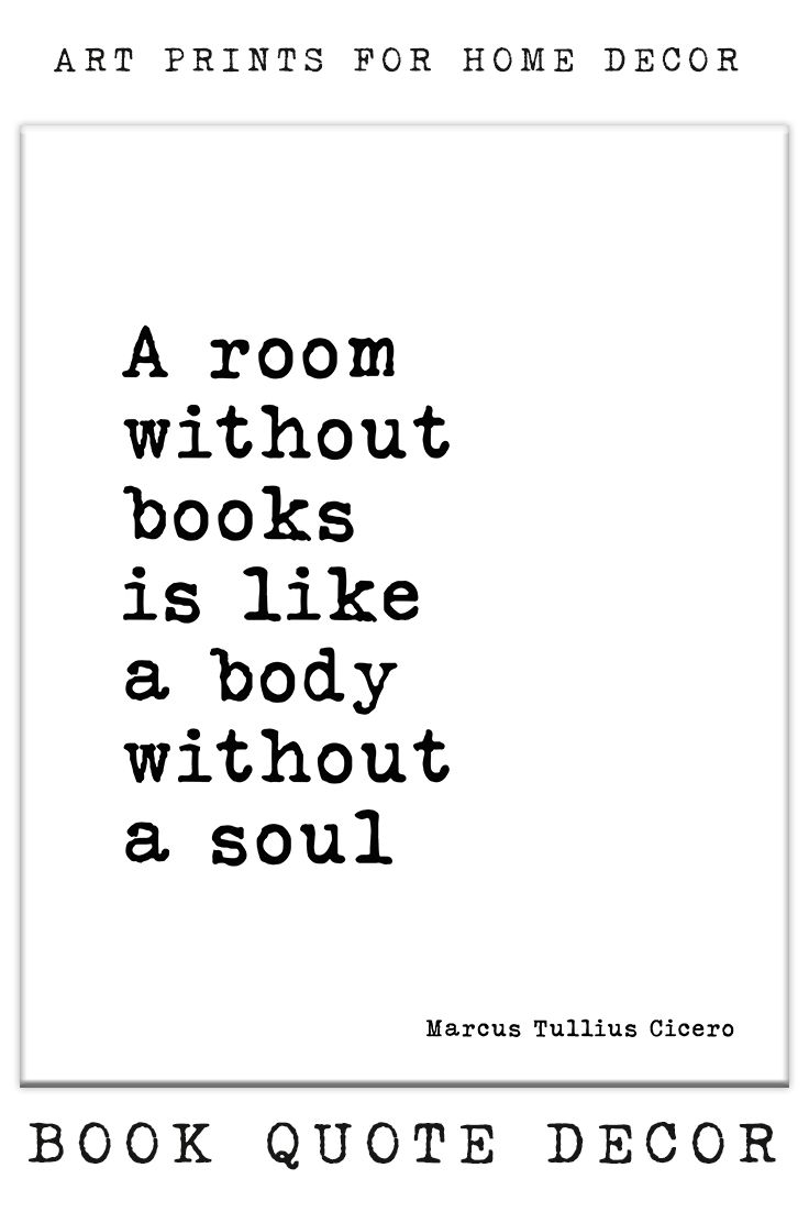 Literary Art Quote A Room Without Books Book Quote Wall Art