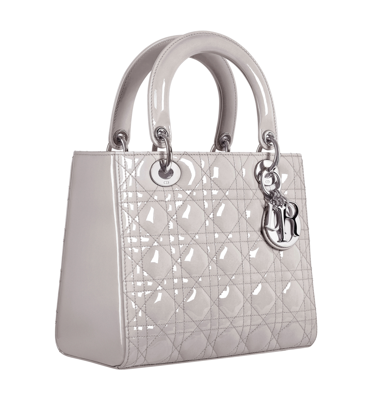 "Christian Dior ""Lady Dior"" bag in pearled grey patent leather ... b089abca4e1de"