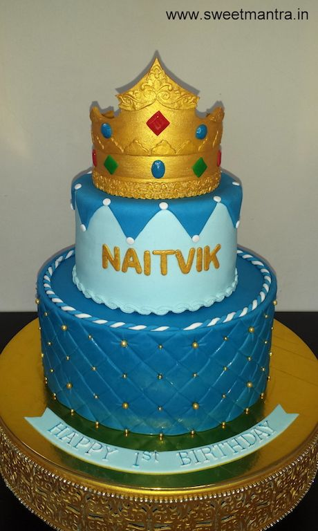 Prince Theme 2 Layer Customized Designer Fondant Cake With 3D Crown For Baby Boys 1st Birthday At Pune