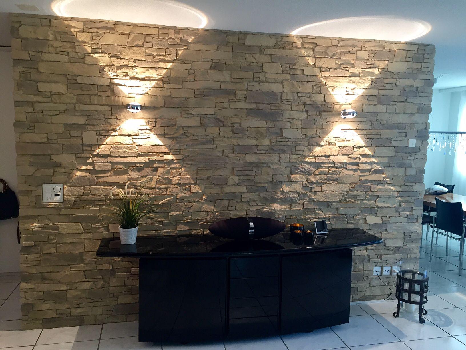 Steinoptik Wohnzimmer  Wandgestaltung steinoptik, Steinwand