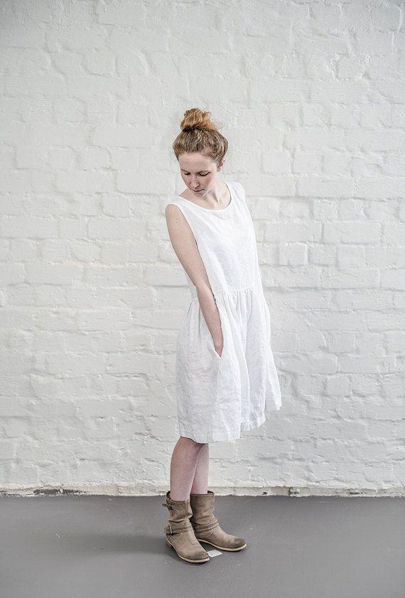 Robe de lin. Robe loose lin blanc