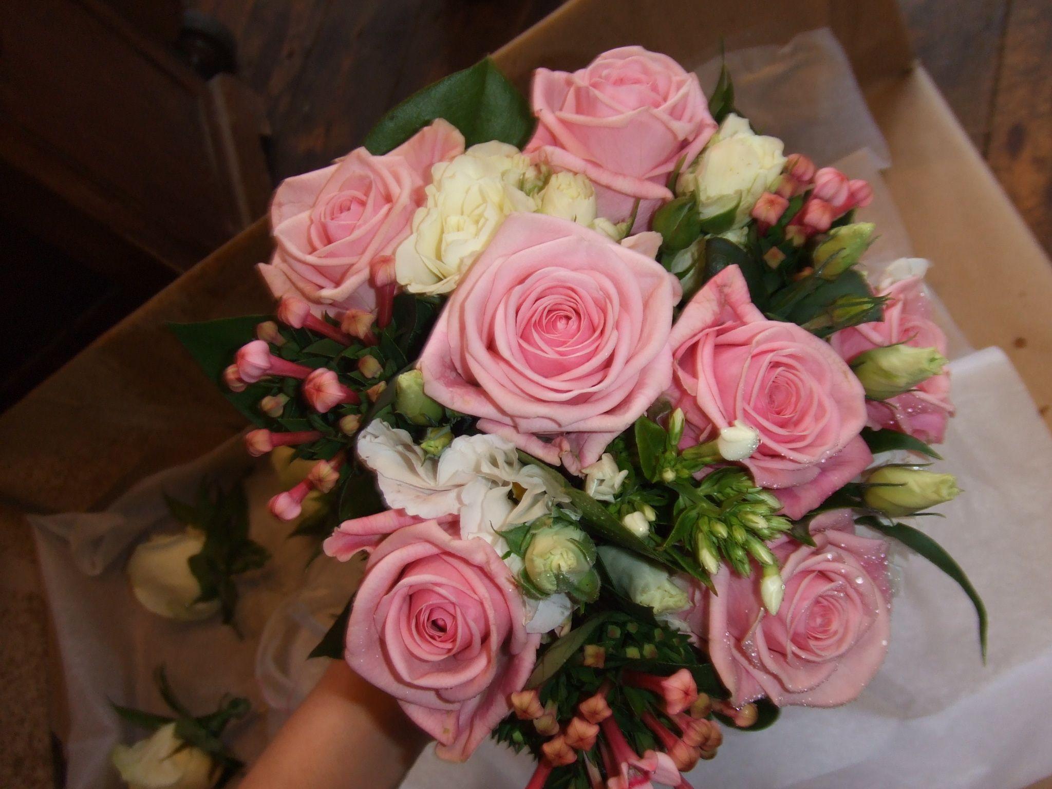 Pink Heaven Roses Bouvardia Spray White Roses Wedding Hand Tie White Roses Wedding Wedding Hands Rose Wedding