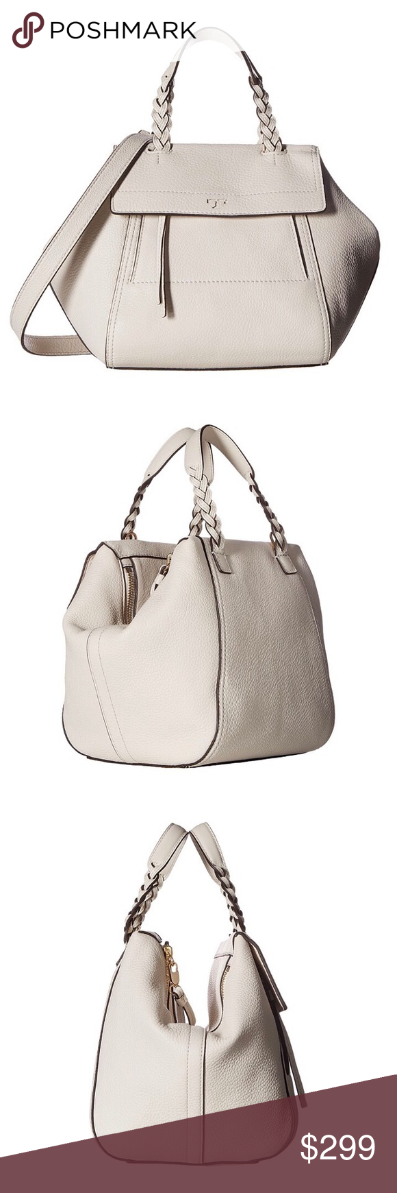 "Tory Burch Small/Mini Half Moon Satchel New Ivory Holds a 7"" tablet, a continental wallet, a small makeup bag, sunglasses, a card case, an iPhone 6 Plus and a lip color Pebbled leather Double zipper closure Flat handles with braided detailing; 4.98"" (12.5 cm) drop Adjustable, removable cross-body strap with 23.3"" (58.5 cm) drop 1 exterior zipper pocket, 1 card slot 1 interior zipper pocket, 3 slit pockets Height: 8.37"" (21 cm) Length: 8.17"" (20.5 cm) Depth: 7.97"" (20 cm) Tory Burch Bags…"