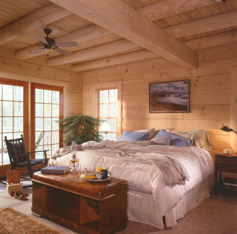 Sitka Rustic Country Log Home Master Bedroom Cabin And