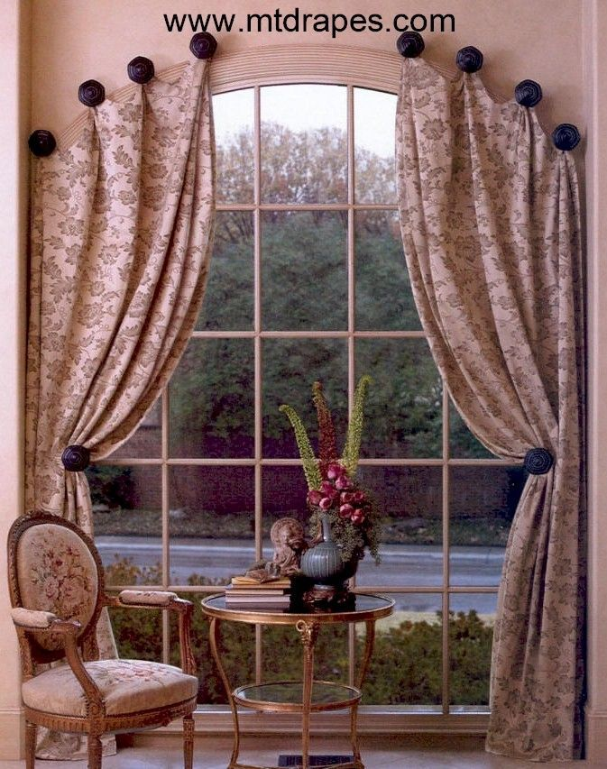 How To Make Window Scarf Holders With Images Curtains For Arched Windows Arched Window Treatments Curtain Decor