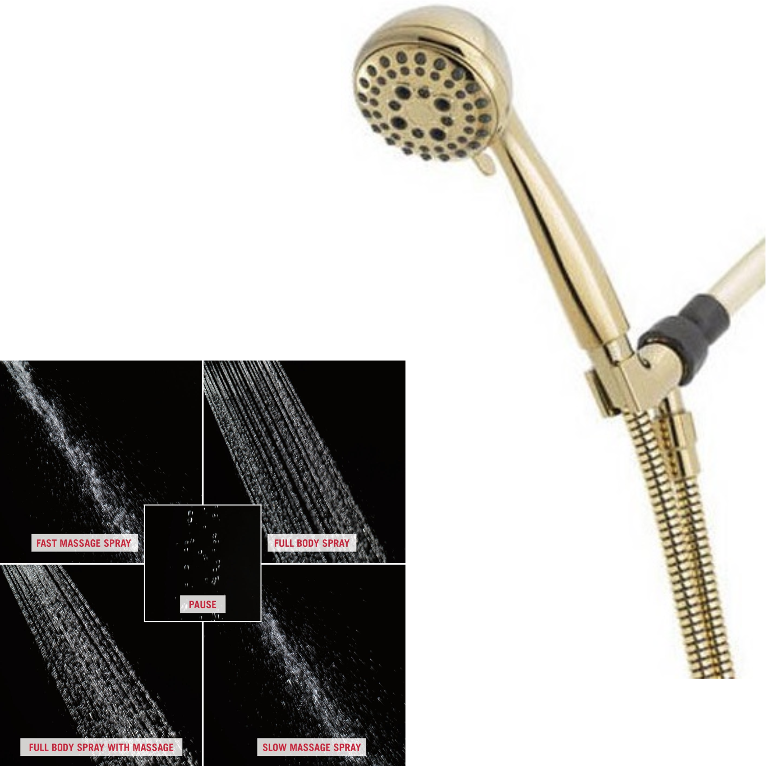 Delta Faucet 5 Spray Touch Clean Hand Held Shower Head With Hose