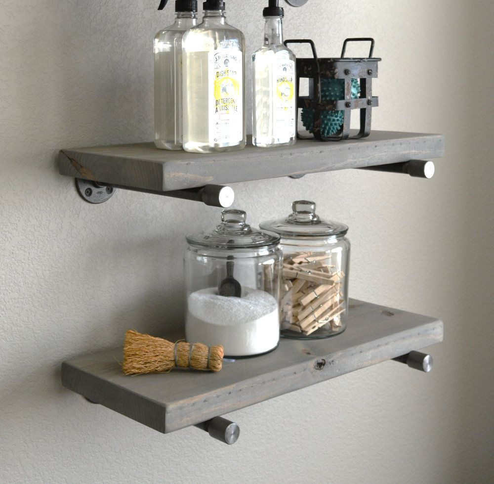 Classic Gray Floating Shelf Rustic Industrial Shelves Floating Wood Shelf On Wall Special End Cap Bracket Farmhouse Pine Solid Wood In 2020 Grey Floating Shelves Rustic Shelves Shelves