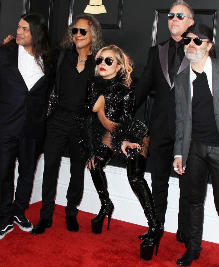 35d5ae99d4a3 Lady Gaga poses with Metallica at the 59th Grammy Awards held in Staples  Center