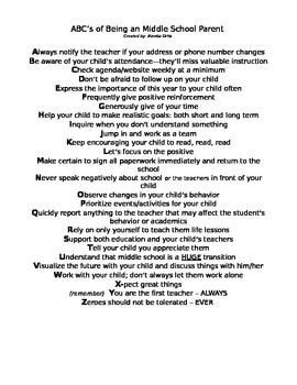 Giving guidance to middle school parents isn't always an easy task. Here is a handy dandy alphabetized list of the 'important' stuff.