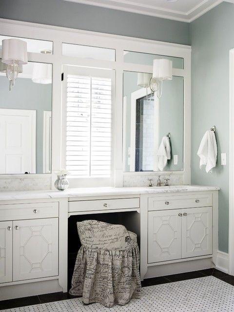 Inset Mirrors Fretwork Cabinets By Brian Watford Via Houzz Traditional Bathroom Bathroom Inspiration Master Bathroom
