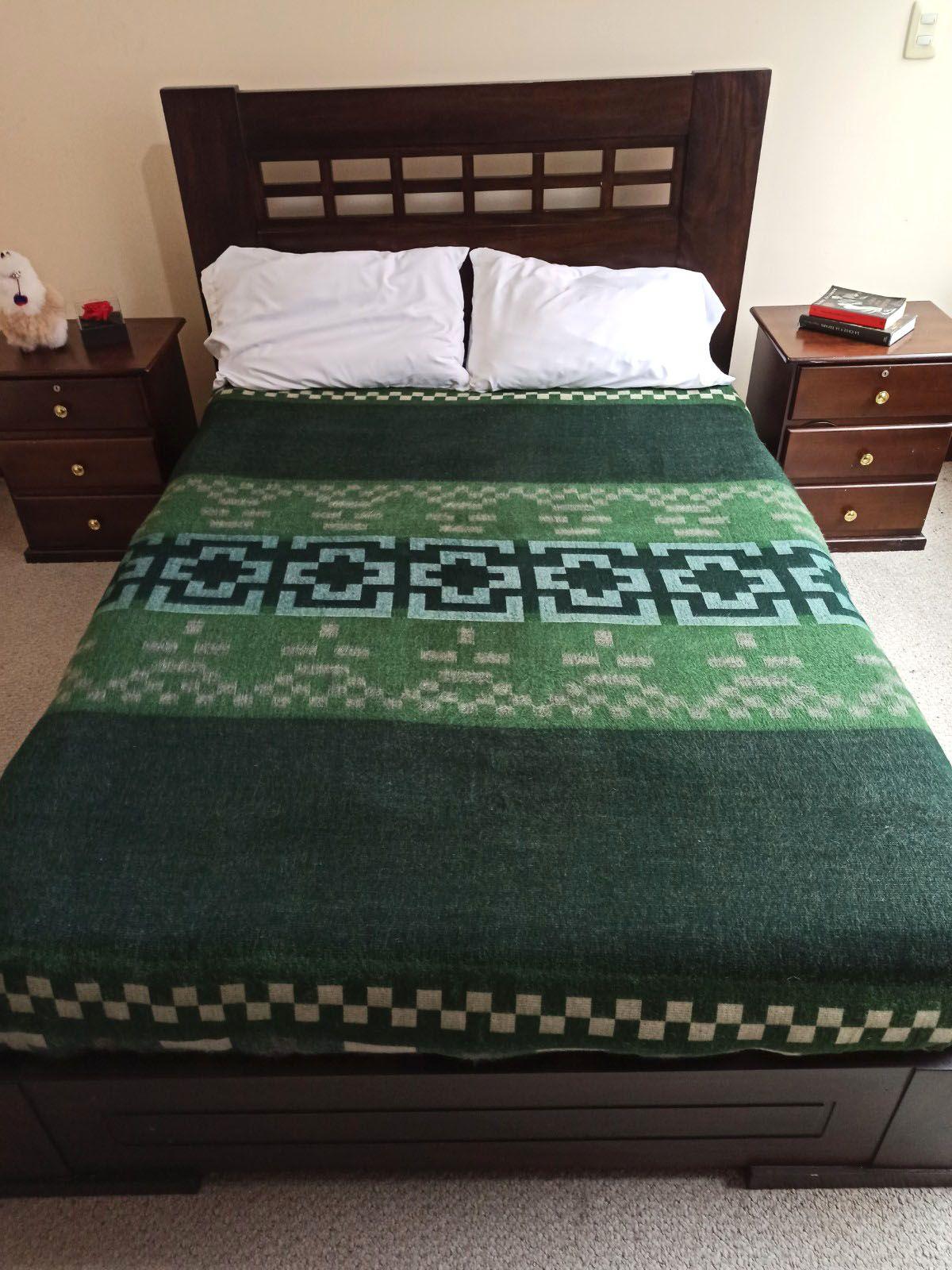 Ethnic Tribal Andean Artisan Green Alpaca Wool Fiber Blanket Gift