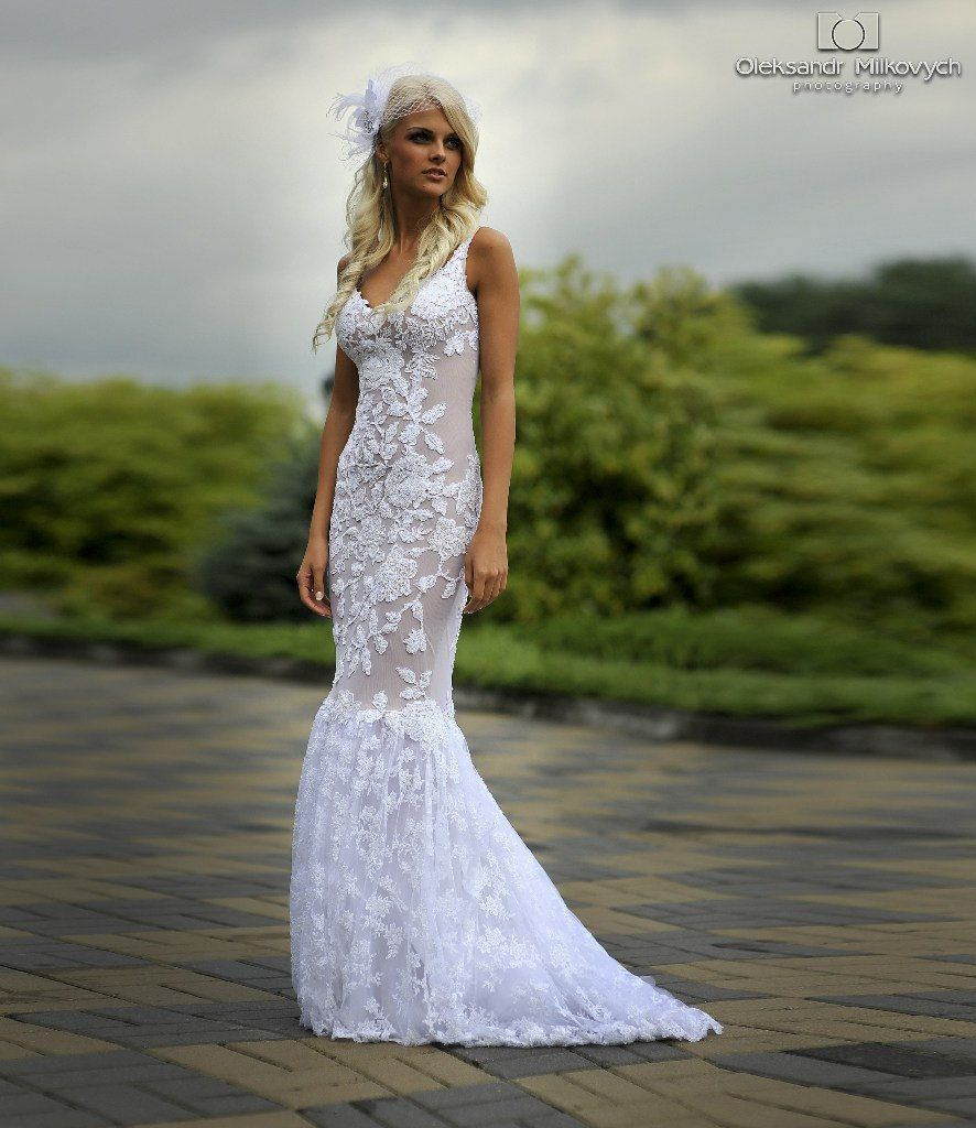Lace Long Wedding Dress with Puddle Traine by ApilatCreativeAtelie, $1,610.00