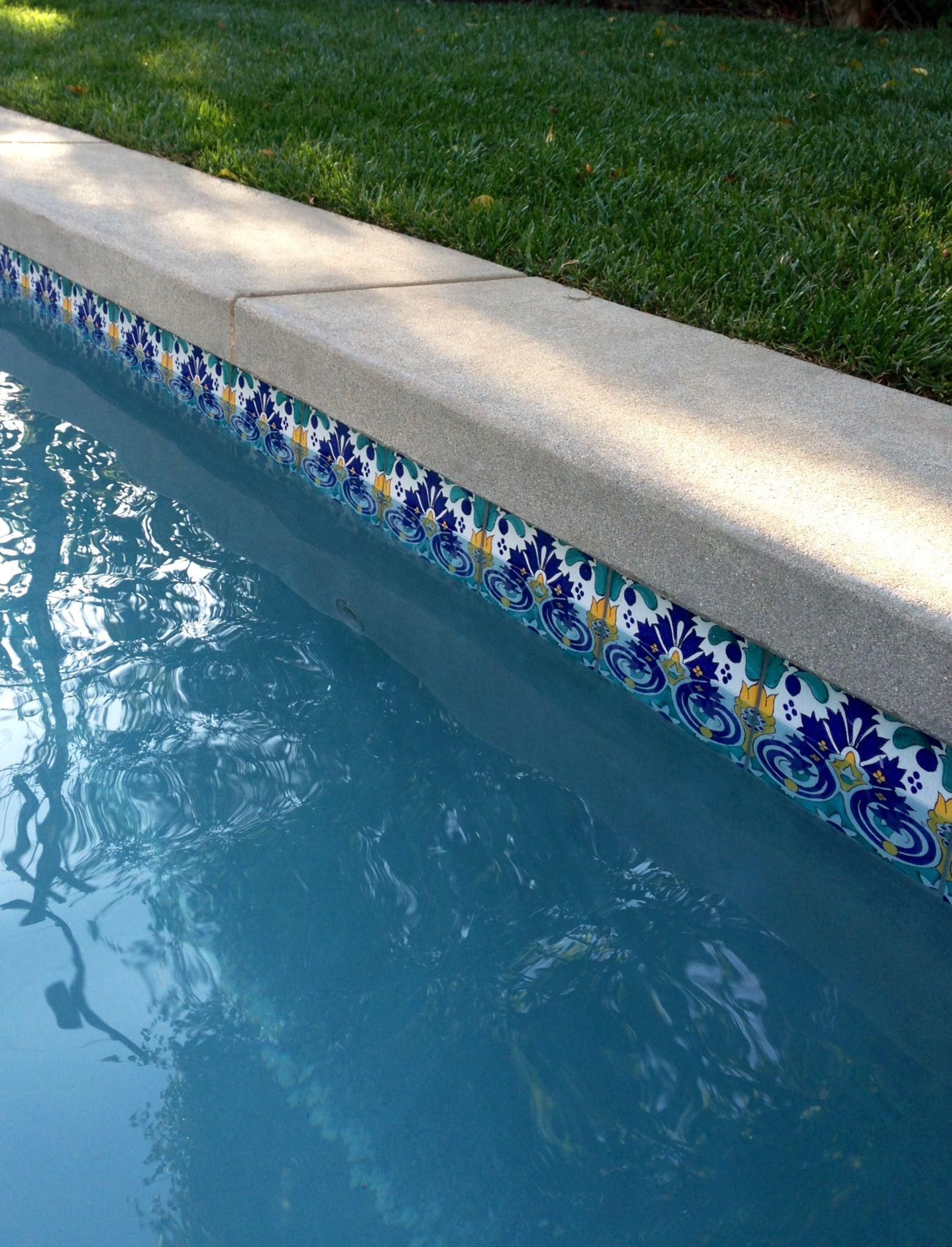 Garbo Pattern Tile At Pool Waterline Www Decorativepooltiles Com Swimming Pool Tiles Pool Tile Pool Landscape Design