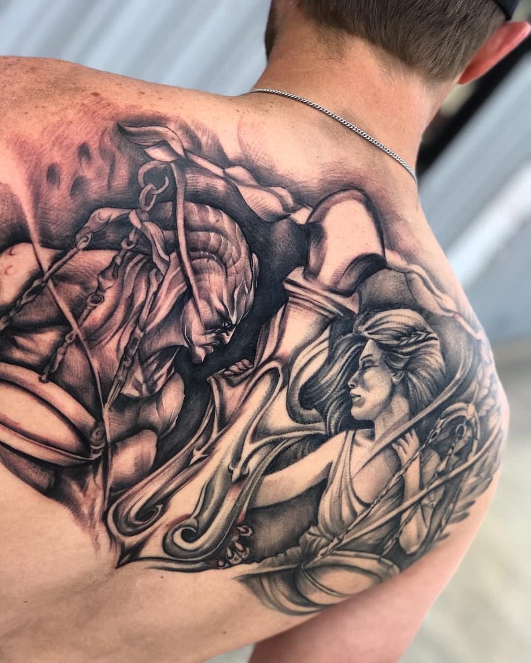 Justice The Art Of Tattooing Tattoo Sal Seventhsealtattoo Dallastattooartist Dallastattoo Backtattoo Good Tattoos Becoming A Tattoo Artist Dallas Tattoo