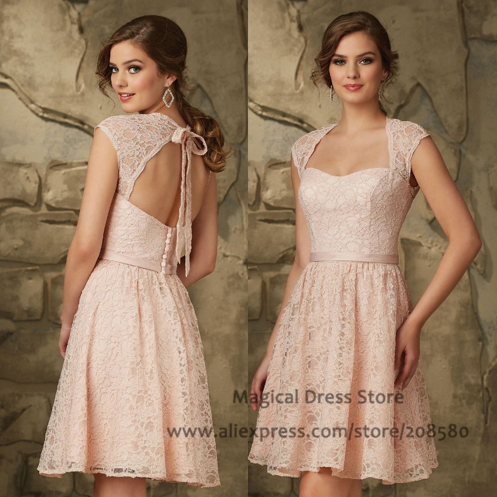 Find more bridesmaid dresses information about vintage pink short short lace bridesmaid dress on sale at reasonable prices buy vintage pink short lace bridesmaid dress open back abiti da damigella belt cap sleeve wedding ombrellifo Image collections