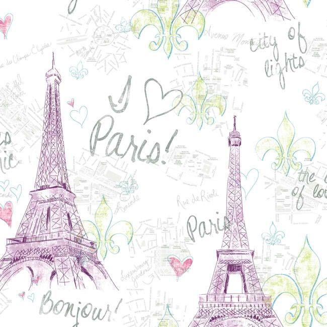 York Wallcoverings Girl Power 2 Paris Wallpaper White Background Pink Or