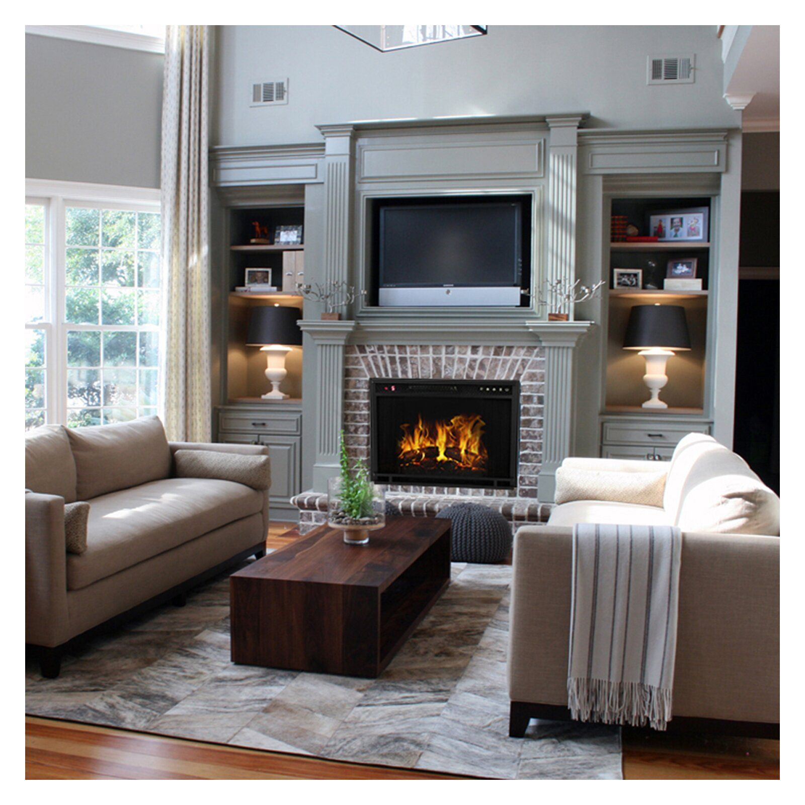 Gibbs Flat Electric Fireplace Insert Fireplace built ins