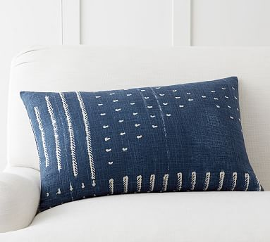"16X26 Pillow Insert Beauteous Shibori Embroidered Lumbar Pillow Cover 16X26"" Indigo  Shibori Decorating Design"