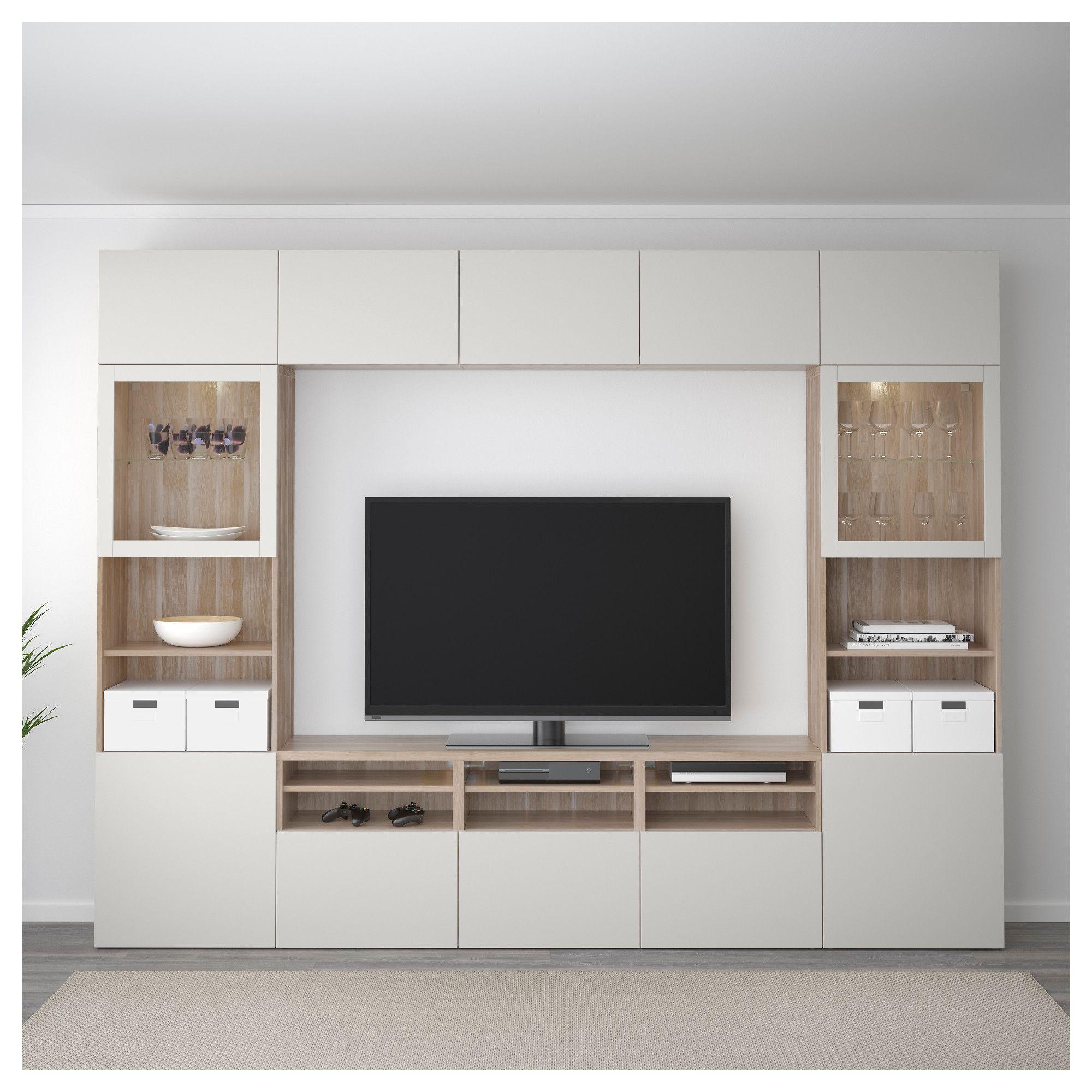 BESTÅ TV storage combination/glass doors - walnut effect ...