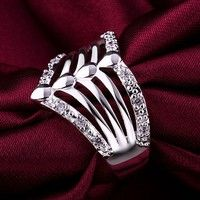 Wish | Women's Men's 925 Sterling Silver Multilayer Wedding Party Crystal Wide Ring Size 8 (Size: 8, Color: Silver)
