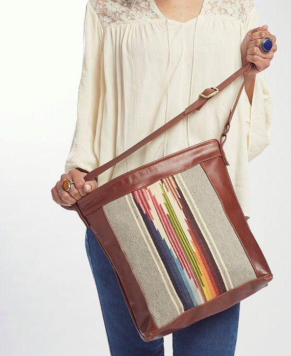 The Totem Bag /////  Brown Leather Bag. Southwestern Print Bag. Cross Body Strap Bag. Adjustable Strap.