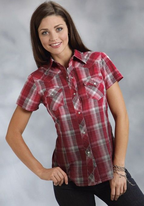 0ae94273 Roper® Women's Red Plaid Short Sleeve Snap Western Shirt   What I ...