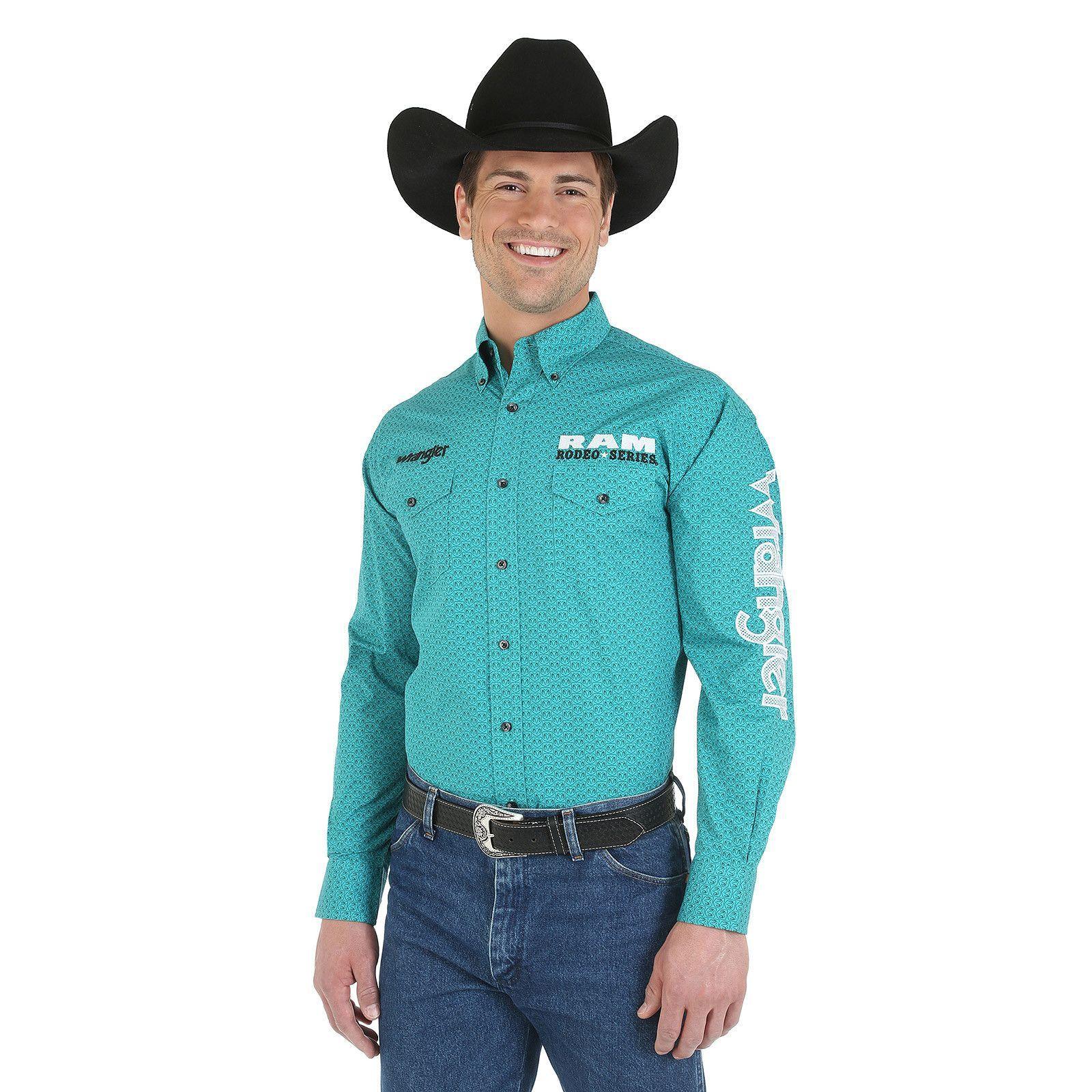 Wrangler Men's Wrangler and Ram Rodeo Series Logo Long Sleeve Button Down  Shirt Green
