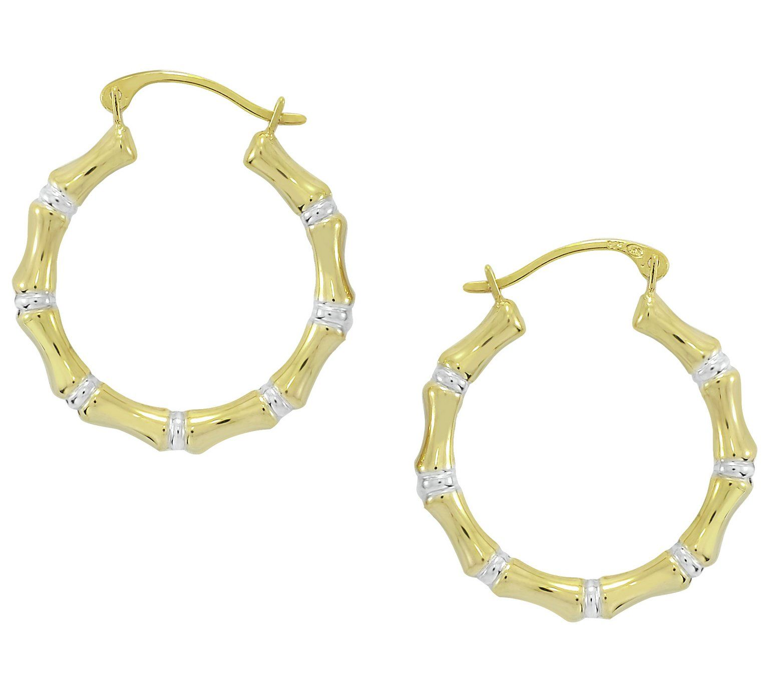 9ct Gold Two Tone Bamboo Hoop Earrings At Argos Co Uk Your