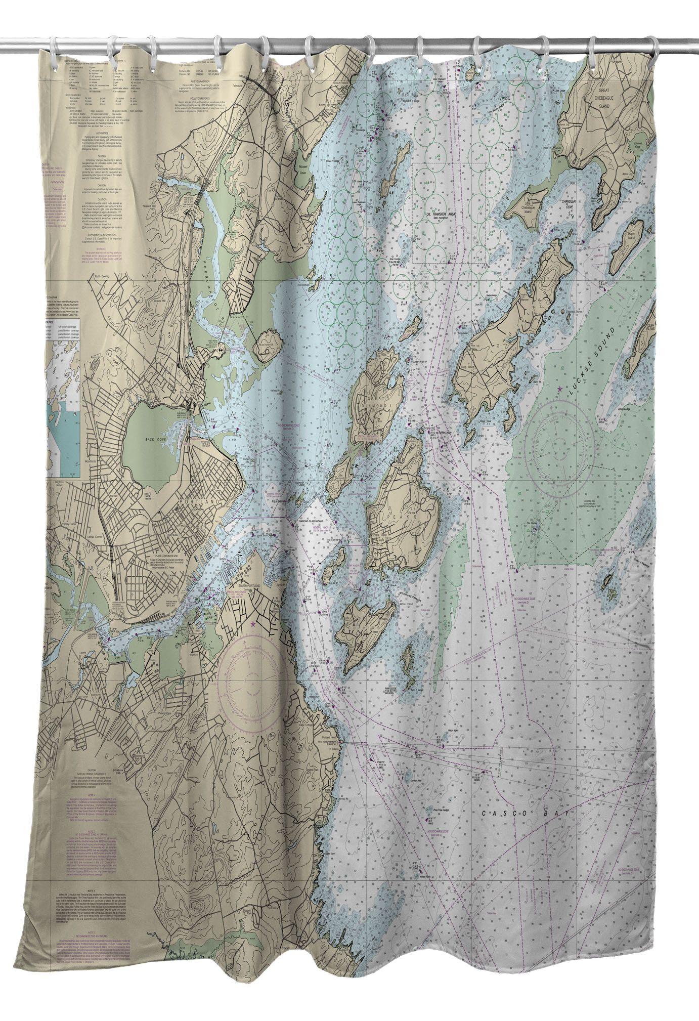 Portland Me Nautical Chart Shower Curtain