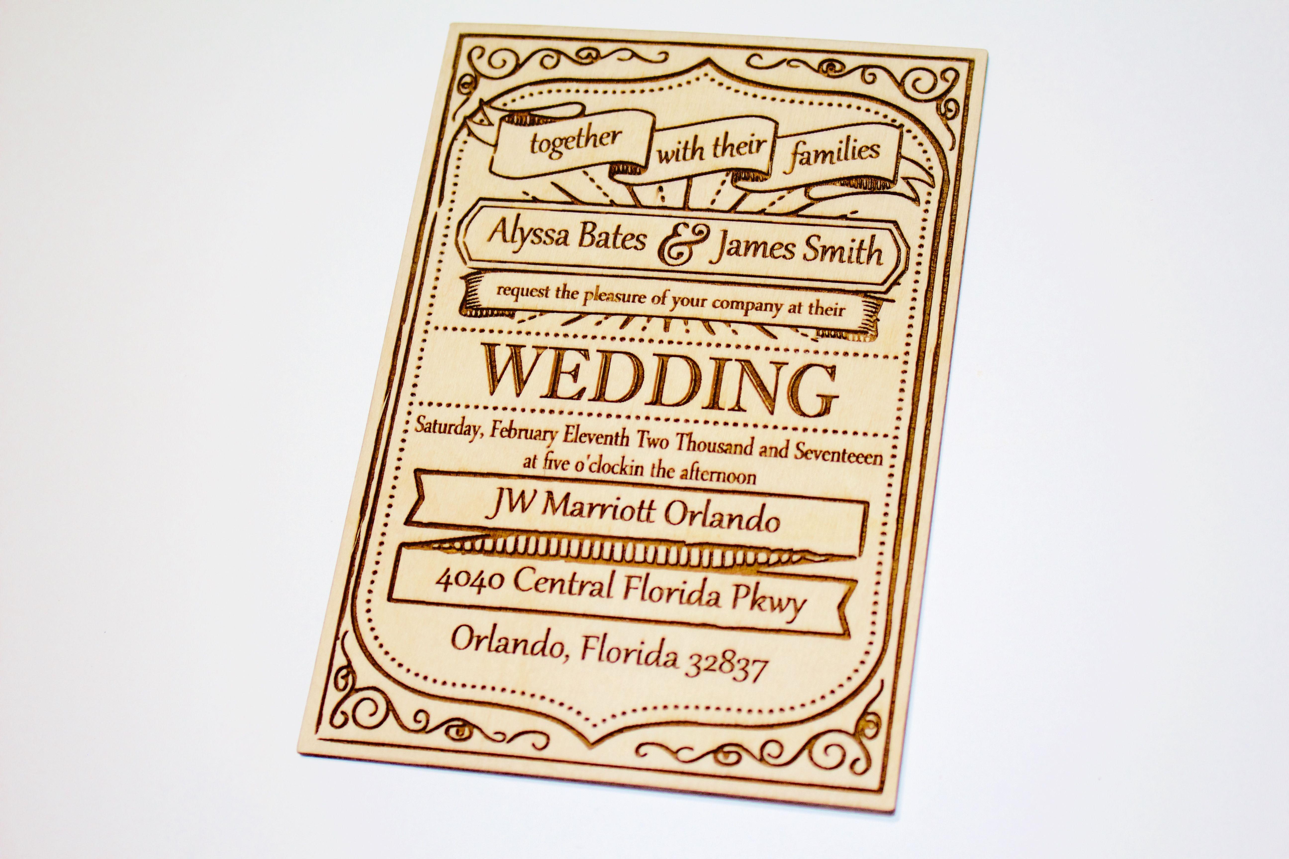 unique wooden wedding invitation laser engraved real natural
