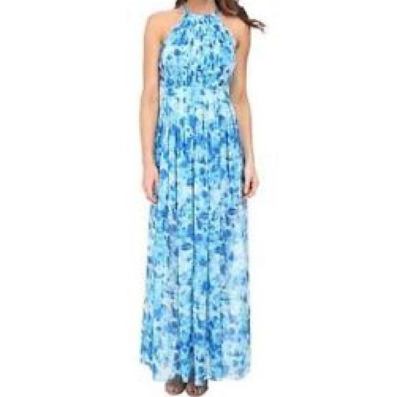 NWT Calvin Klein watercolor maxi dress 10 Gorgeous Calvin Klein Blue Watercolor Maxi Dress. Size 10. Pleated bust with silver chain detail on straps. Blue underdress to mid thigh and sheer down.  Great for a wedding!! Calvin Klein Dresses Maxi