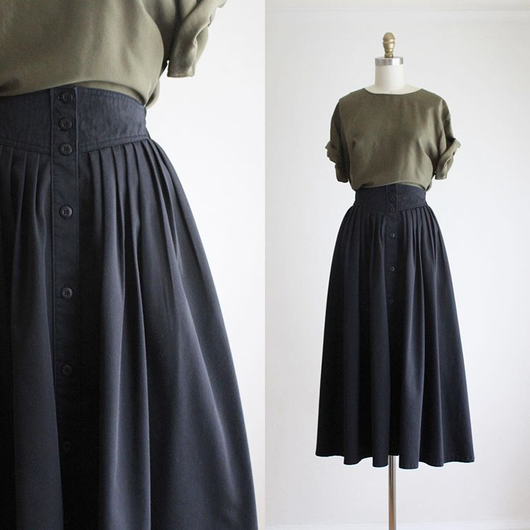 "Anne on Instagram: ""olive silk tee (sold) & button front midi skirt (sold)"""