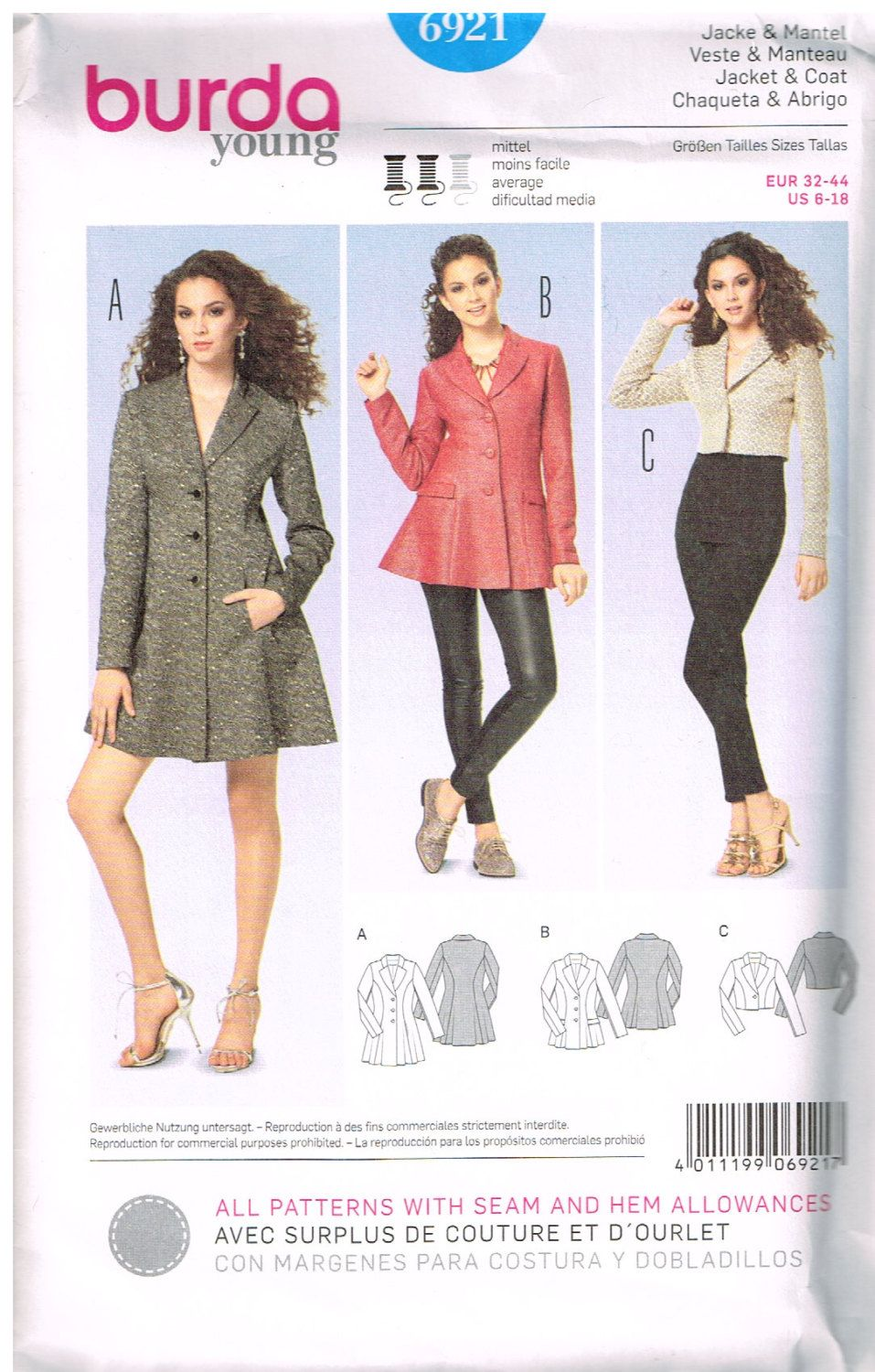 Burda 6921, Young, Sewing Pattern, Misses\' Coat, Jacket, Size 6, 8 ...