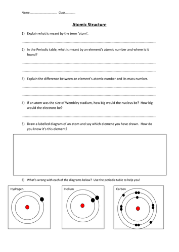 Atomic Structure Worksheet By Edp10ch Teaching Resources Tes