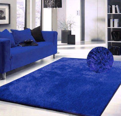 Luxury Viscose Shag Collection Royal Blue Shag Area Rug 5