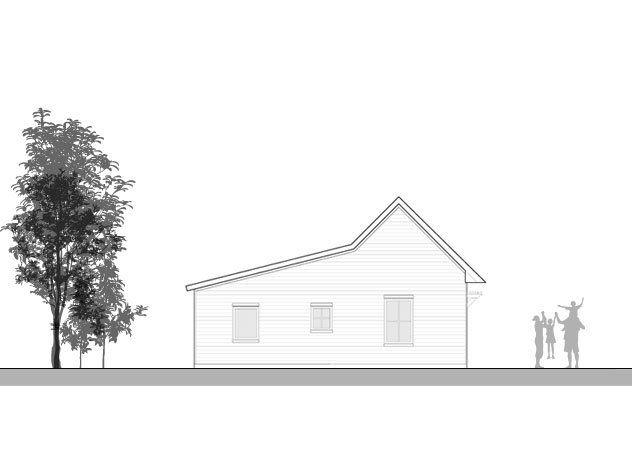 go logic 1100 sf prefab home model - west elevation. | rumah