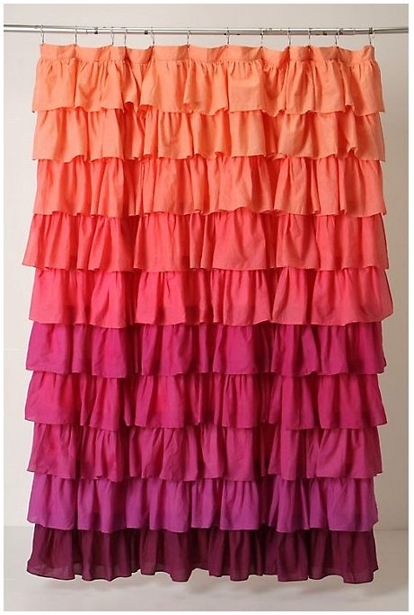 Coral Pink Shower Curtain Anthropologie Girly Decor Pinterest Pink Shower Curtains Pink