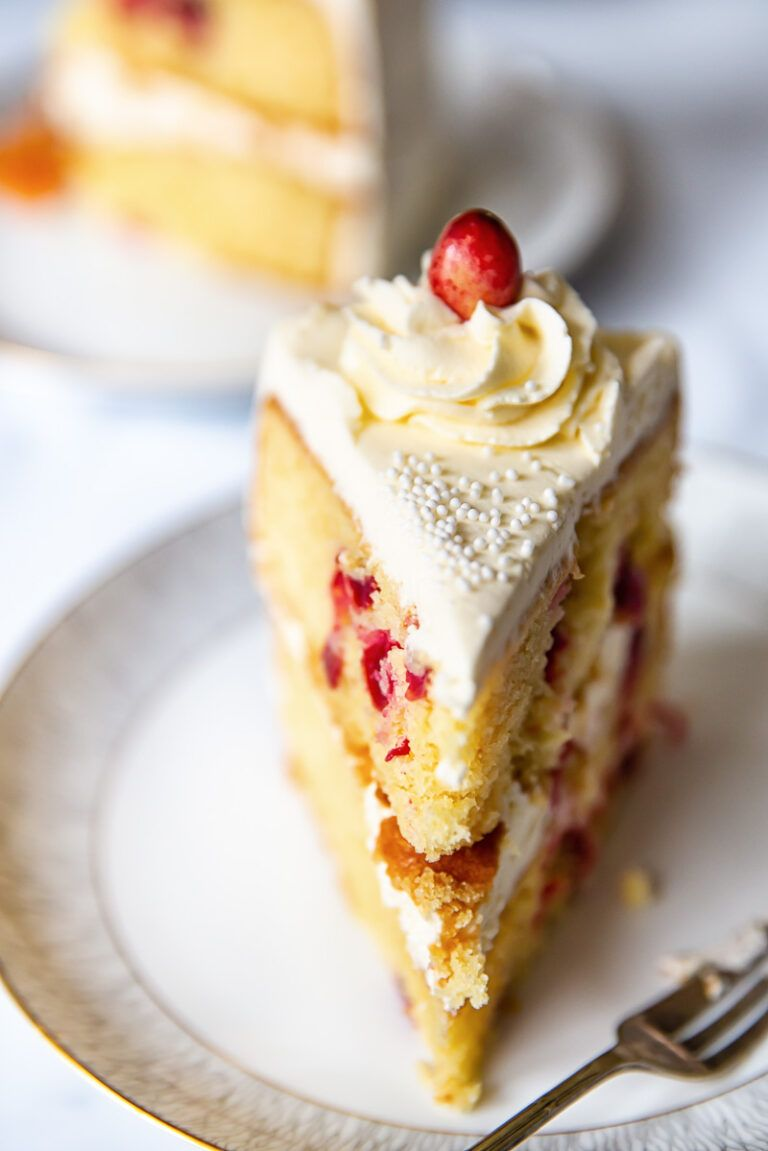 This Cranberry Christmas Cake consists of citrus flavoured