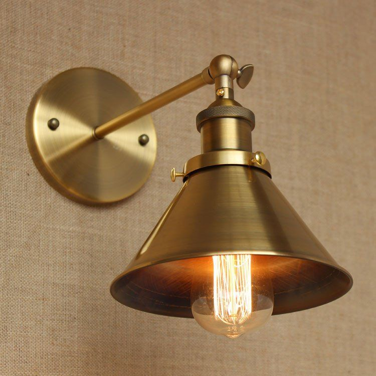 Brass cone shade wall light with short arm arms walls and light walls brass cone shade wall light with short arm mozeypictures Image collections