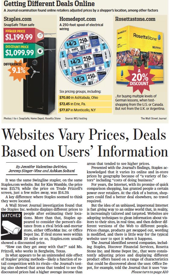 websites vary prices deals based on users information on wall street journal online id=49696