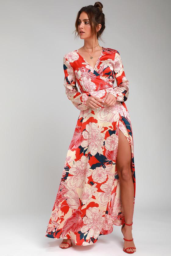 bfaf7681c3 Lulus | Rosanna Coral Red Floral Print Satin Wrap Maxi Dress | Size ...